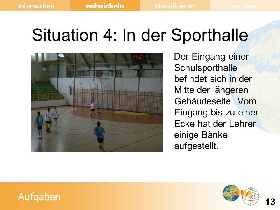 Aufgaben entwickeln 13 untersuchenklassifizierenvariieren Situation 4: In der Sporthalle Der Eingang einer Schulsporthalle befindet sich in der Mitte der längeren Gebäudeseite.