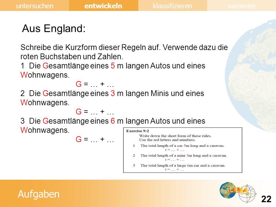 Aufgaben entwickeln 22 untersuchenklassifizierenvariieren Aus England: Schreibe die Kurzform dieser Regeln auf.