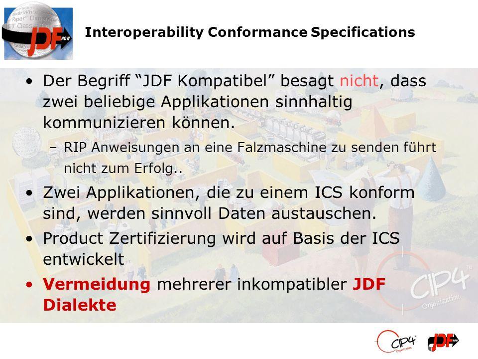 Der Begriff JDF Kompatibel besagt nicht, dass zwei beliebige Applikationen sinnhaltig kommunizieren können. –RIP Anweisungen an eine Falzmaschine zu s