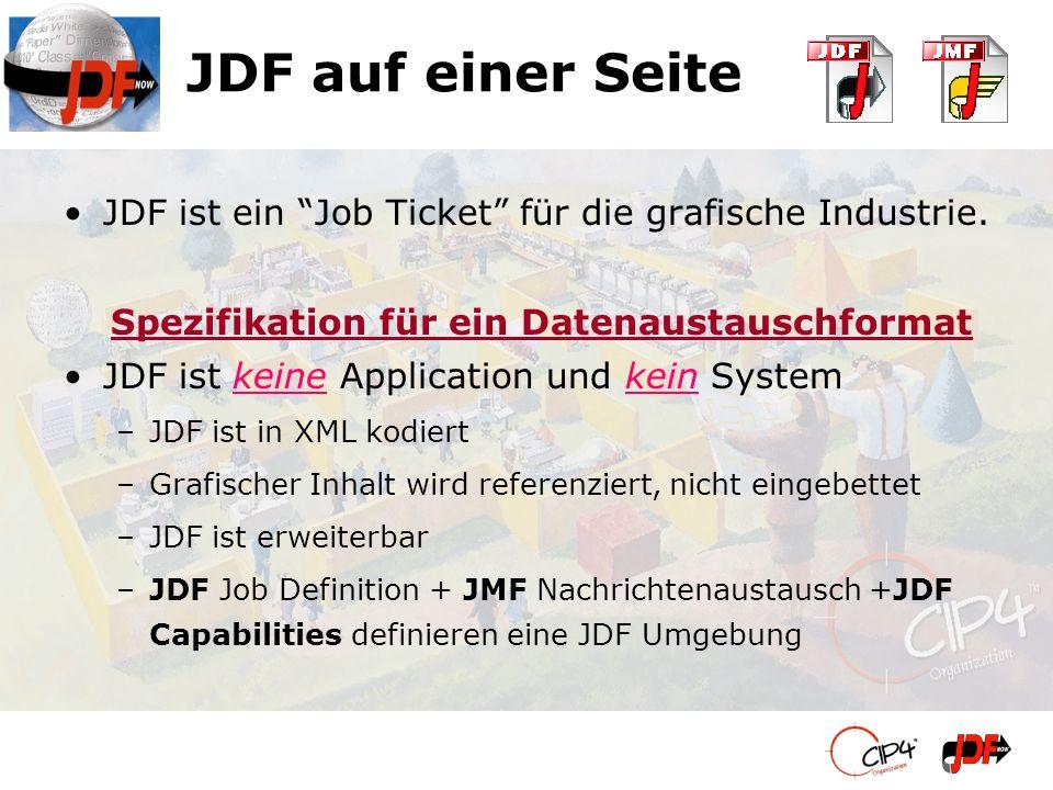 JDF auf einer Seite JDF ist ein Job Ticket für die grafische Industrie. Spezifikation für ein Datenaustauschformat JDF ist keine Application und kein