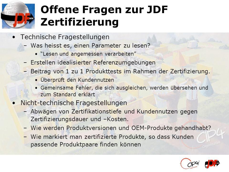 Offene Fragen zur JDF Zertifizierung Technische Fragestellungen –Was heisst es, einen Parameter zu lesen? Lesen und angemessen verarbeiten –Erstellen