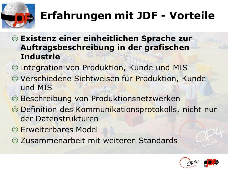 Erfahrungen mit JDF - Vorteile JExistenz einer einheitlichen Sprache zur Auftragsbeschreibung in der grafischen Industrie JIntegration von Produktion,