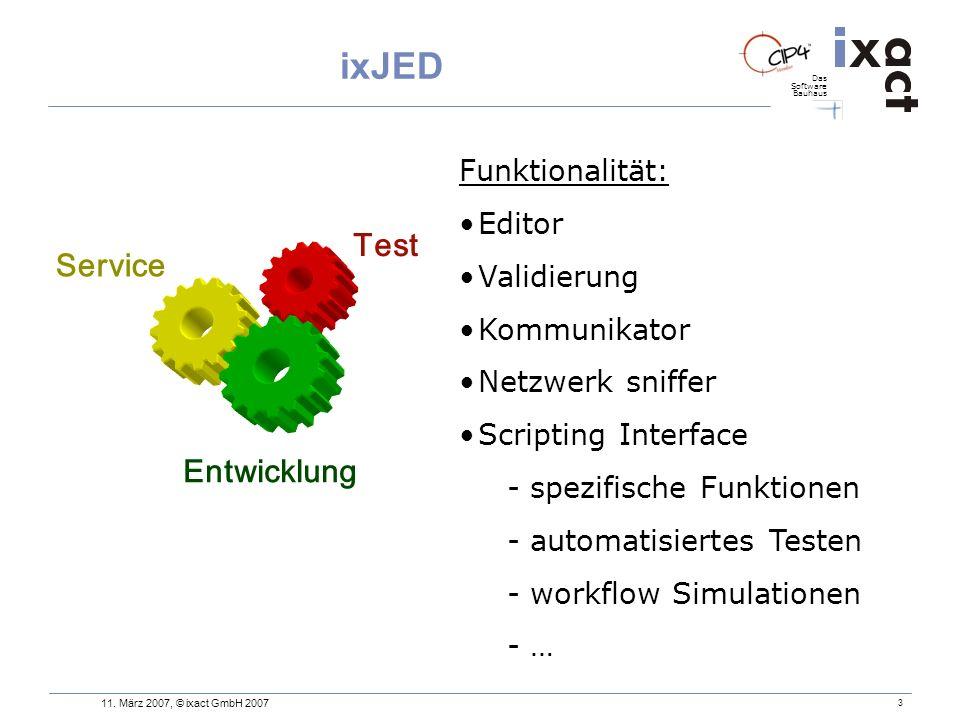 Das Software Bauhaus 3 ixJED Test Entwicklung Service Funktionalität: Editor Validierung Kommunikator Netzwerk sniffer Scripting Interface - spezifisc