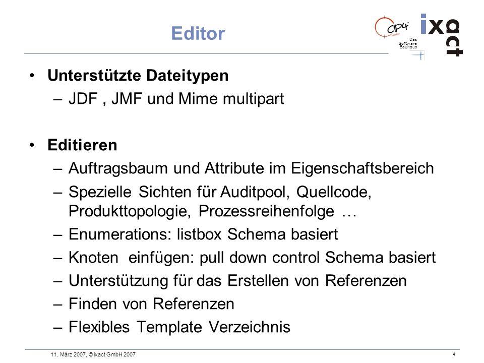 Das Software Bauhaus 4 Editor Unterstützte Dateitypen –JDF, JMF und Mime multipart Editieren –Auftragsbaum und Attribute im Eigenschaftsbereich –Spezi
