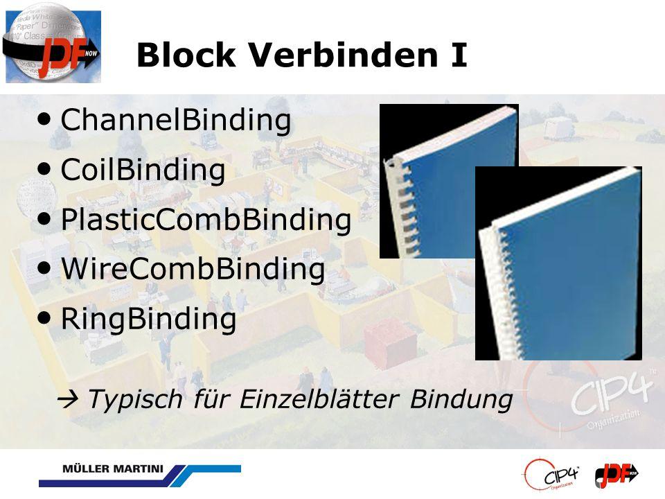 Block Verbinden I ChannelBinding CoilBinding PlasticCombBinding WireCombBinding RingBinding Typisch für Einzelblätter Bindung