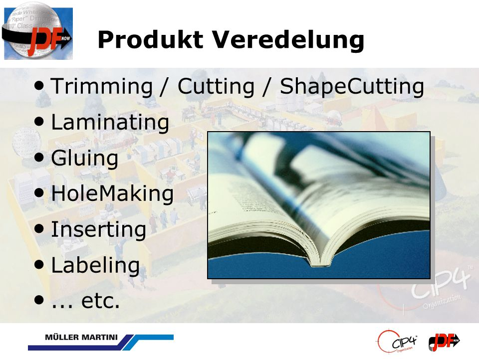 Produkt Veredelung Trimming / Cutting / ShapeCutting Laminating Gluing HoleMaking Inserting Labeling... etc.