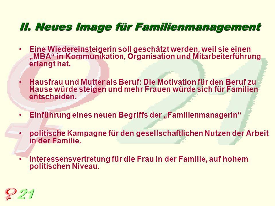 II. Neues Image für Familienmanagement Eine Wiedereinsteigerin soll geschätzt werden, weil sie einen MBA in Kommunikation, Organisation und Mitarbeite