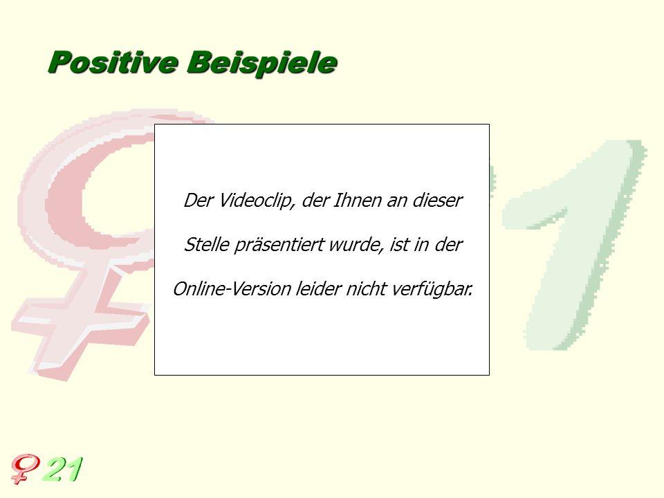 Positive Beispiele Der Videoclip, der Ihnen an dieser Stelle präsentiert wurde, ist in der Online-Version leider nicht verfügbar.