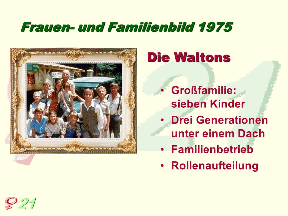 Frauen- und Familienbild 1983 Mutter: drei Kinder, geschieden, selbständig, Familienoberhaupt Vater: muss seine Rolle in einer Patchwork-Familie finden Ich heirate eine Familie…
