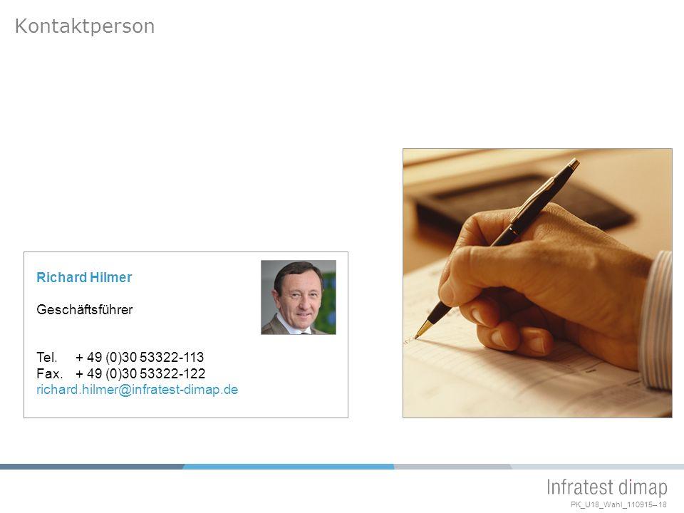 PK_U18_Wahl_110915– 18 Kontaktperson Richard Hilmer Geschäftsführer Tel.+ 49 (0)30 53322-113 Fax.+ 49 (0)30 53322-122 richard.hilmer@infratest-dimap.de