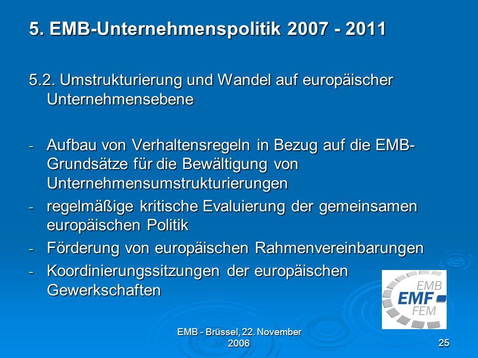 EMB - Brüssel, 22.November 200625 5. EMB-Unternehmenspolitik 2007 - 2011 5.2.