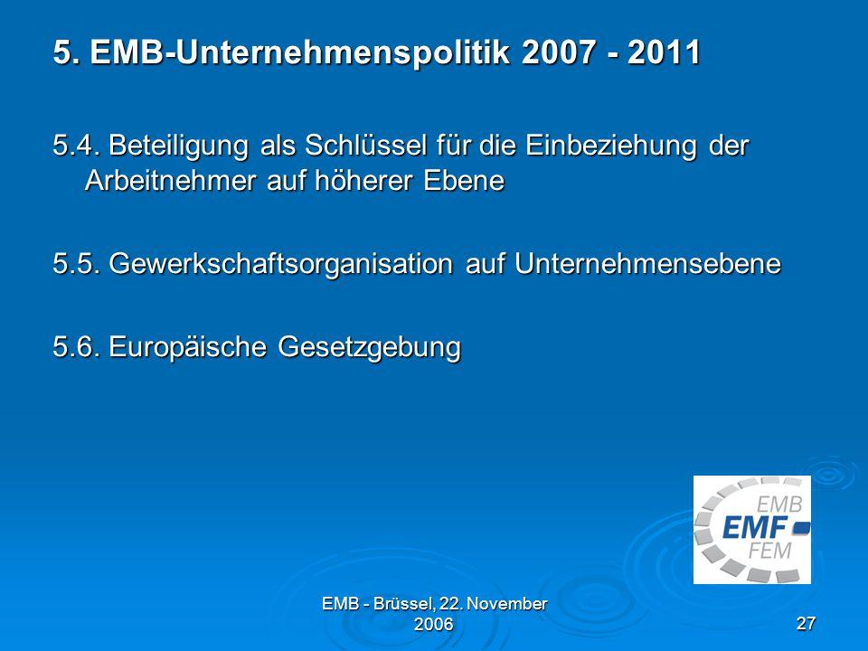 EMB - Brüssel, 22.November 200627 5. EMB-Unternehmenspolitik 2007 - 2011 5.4.