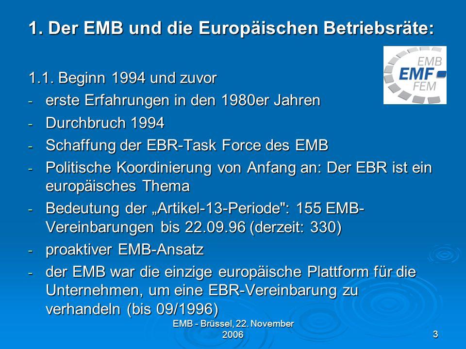EMB - Brüssel, 22.November 20063 1. Der EMB und die Europäischen Betriebsräte: 1.1.