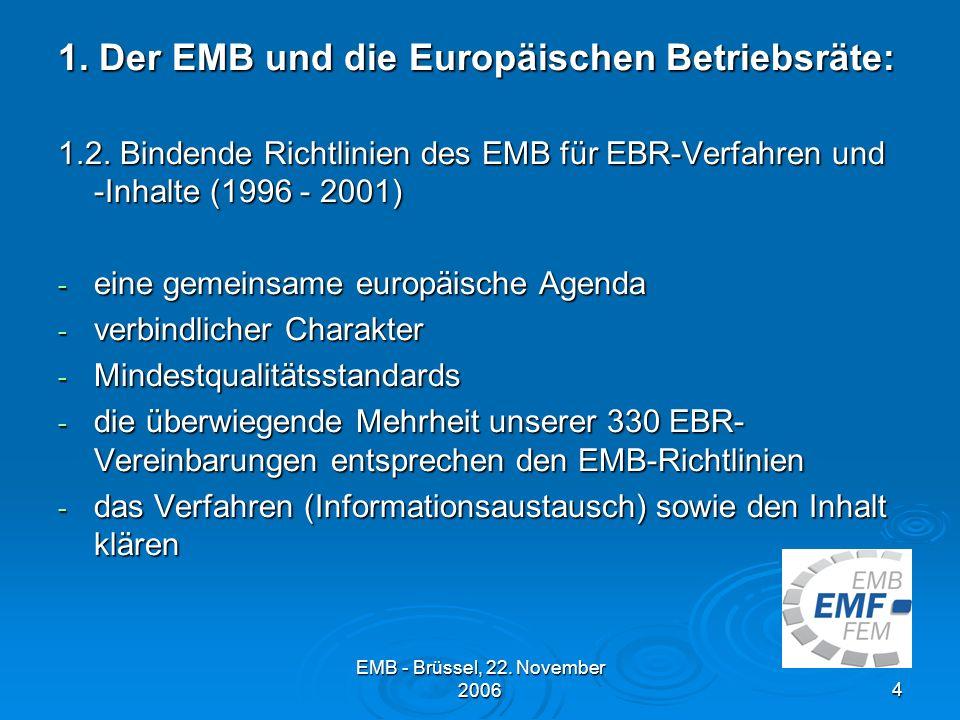 EMB - Brüssel, 22.November 20064 1. Der EMB und die Europäischen Betriebsräte: 1.2.