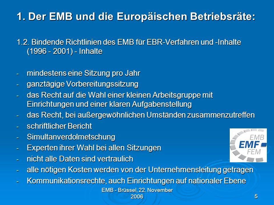 EMB - Brüssel, 22.November 20065 1. Der EMB und die Europäischen Betriebsräte: 1.2.