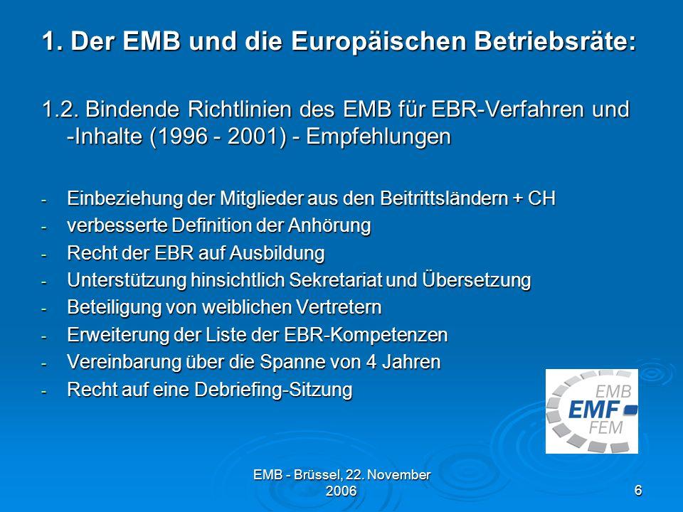 EMB - Brüssel, 22.November 20066 1. Der EMB und die Europäischen Betriebsräte: 1.2.