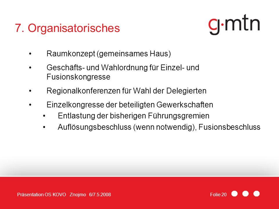 Folie 20Präsentation OS KOVO Znojmo 6/7.5.2008 7. Organisatorisches Raumkonzept (gemeinsames Haus) Geschäfts- und Wahlordnung für Einzel- und Fusionsk