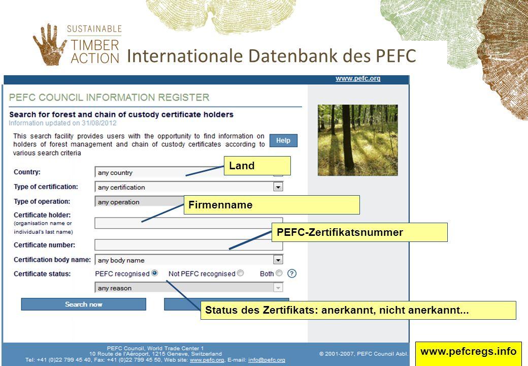 Internationale Datenbank des PEFC FirmennamePEFC-ZertifikatsnummerLand Status des Zertifikats: anerkannt, nicht anerkannt... www.pefcregs.info