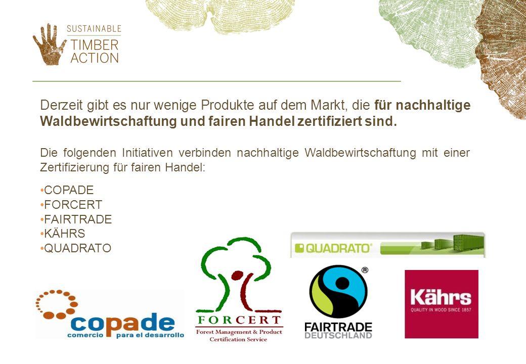 Derzeit gibt es nur wenige Produkte auf dem Markt, die für nachhaltige Waldbewirtschaftung und fairen Handel zertifiziert sind. Die folgenden Initiati