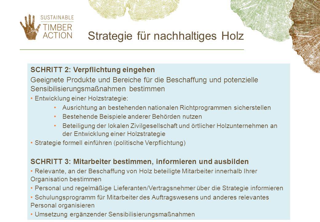 Strategie für nachhaltiges Holz SCHRITT 2: Verpflichtung eingehen Geeignete Produkte und Bereiche für die Beschaffung und potenzielle Sensibilisierung