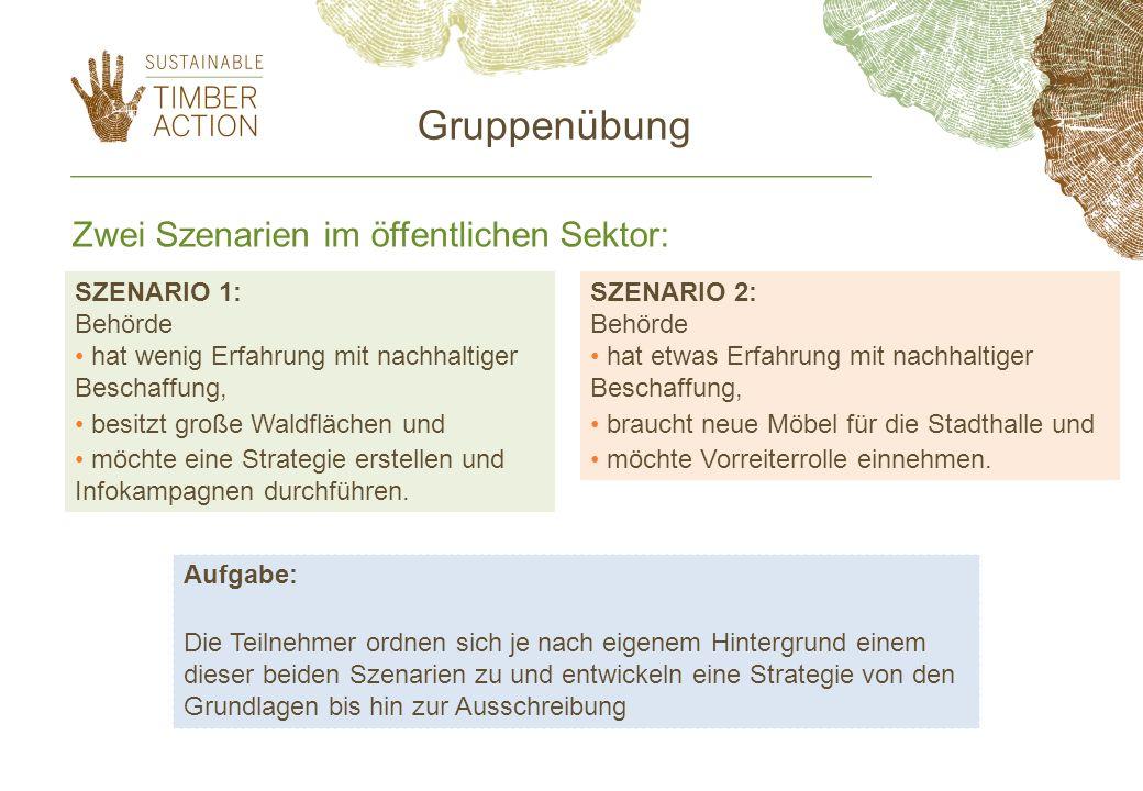 Zwei Szenarien im öffentlichen Sektor: SZENARIO 1: Behörde hat wenig Erfahrung mit nachhaltiger Beschaffung, besitzt große Waldflächen und möchte eine