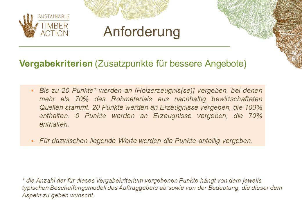 Vergabekriterien (Zusatzpunkte für bessere Angebote) Bis zu 20 Punkte* werden an [Holzerzeugnis(se)] vergeben, bei denen mehr als 70% des Rohmaterials
