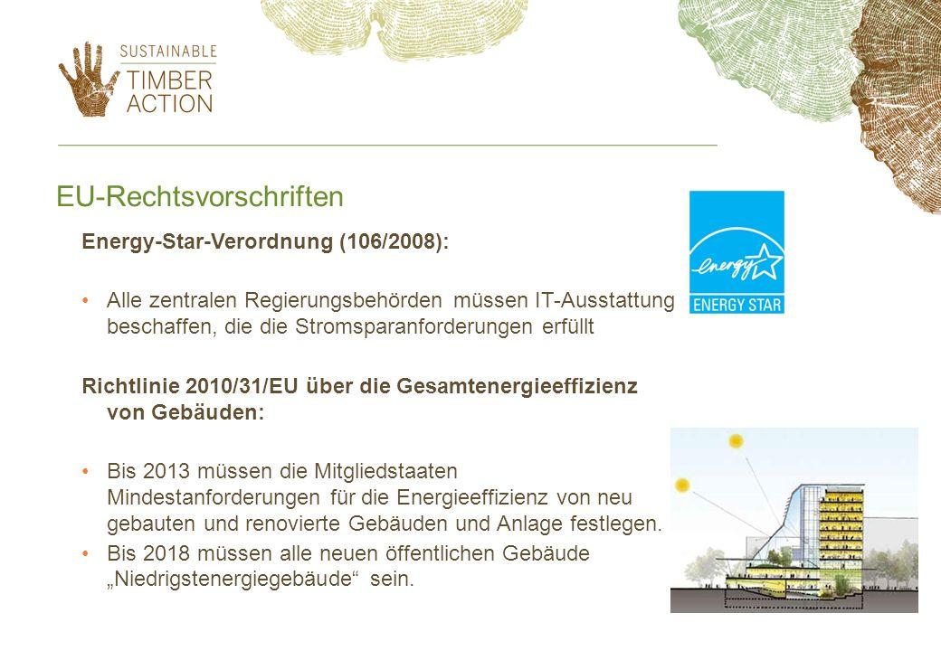EU-Rechtsvorschriften Energy-Star-Verordnung (106/2008): Alle zentralen Regierungsbehörden müssen IT-Ausstattung beschaffen, die die Stromsparanforder