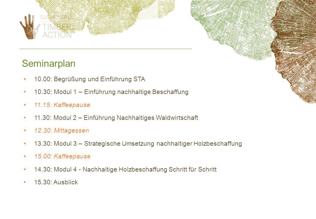 Seminarplan 10.00: Begrüßung und Einführung STA 10.30: Modul 1 – Einführung nachhaltige Beschaffung 11.15: Kaffeepause 11.30: Modul 2 – Einführung Nac