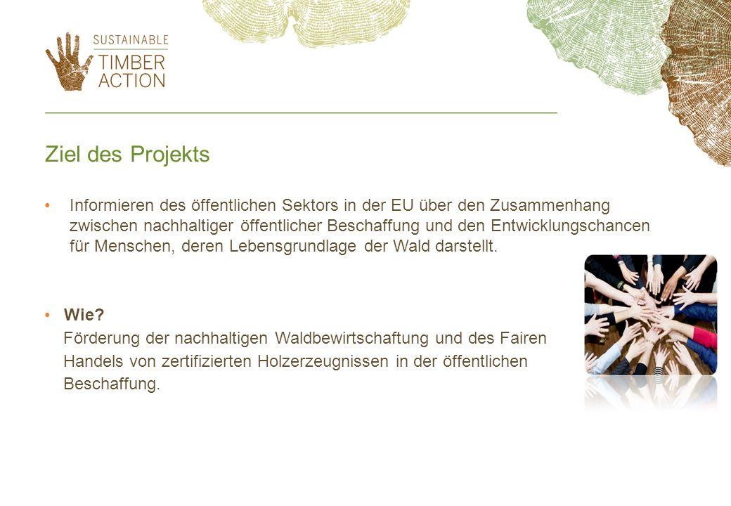 Ziel des Projekts Informieren des öffentlichen Sektors in der EU über den Zusammenhang zwischen nachhaltiger öffentlicher Beschaffung und den Entwickl