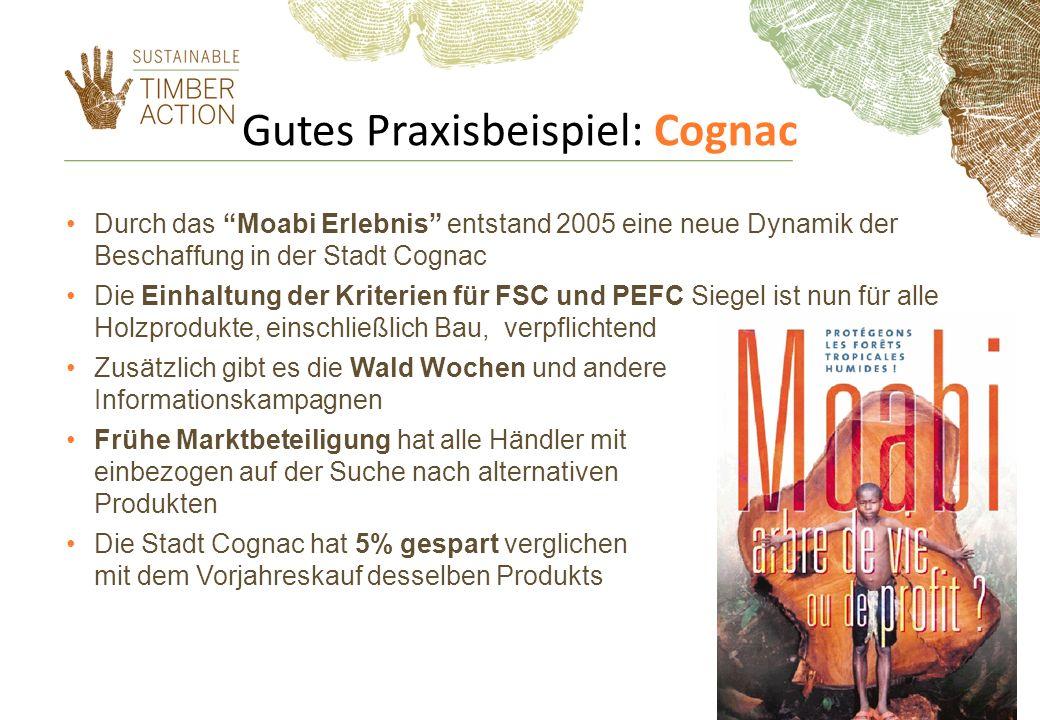 Gutes Praxisbeispiel: Cognac Durch das Moabi Erlebnis entstand 2005 eine neue Dynamik der Beschaffung in der Stadt Cognac Die Einhaltung der Kriterien