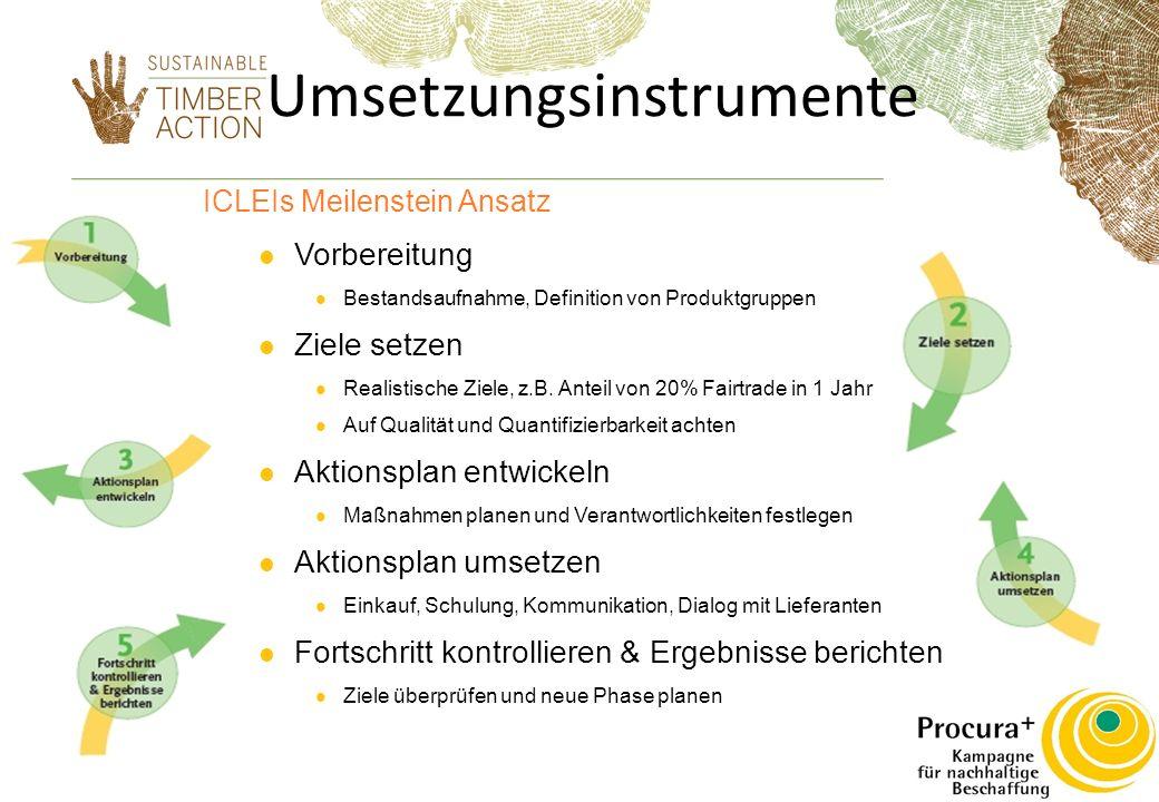 Umsetzungsinstrumente ICLEIs Meilenstein Ansatz Vorbereitung Bestandsaufnahme, Definition von Produktgruppen Ziele setzen Realistische Ziele, z.B.