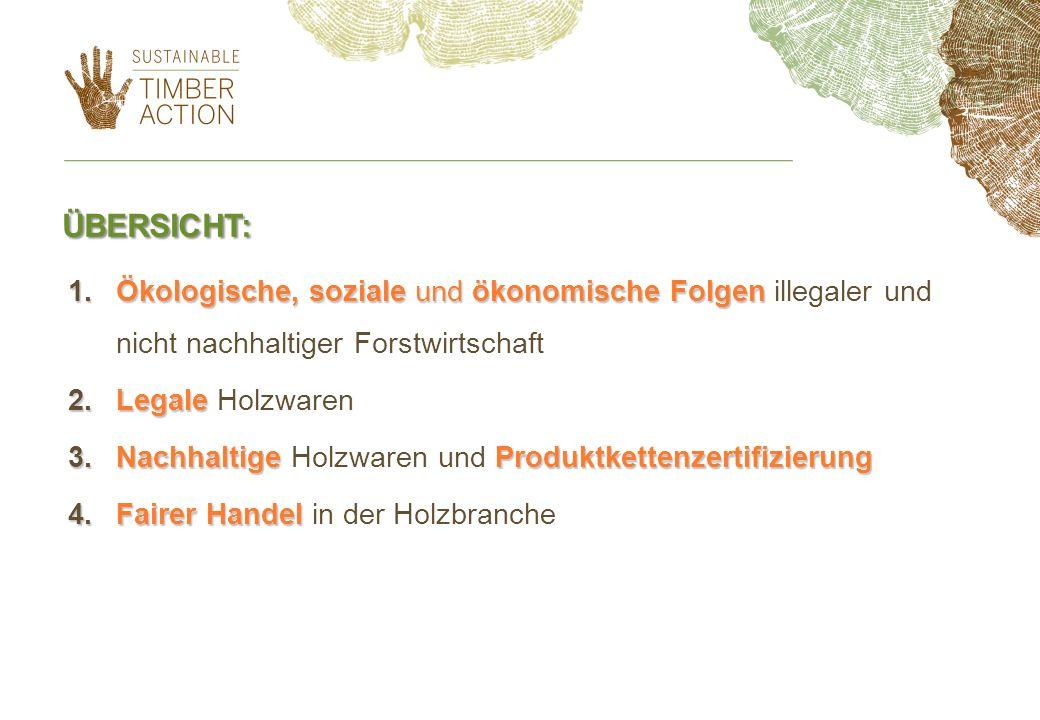 ÜBERSICHT: 1.Ökologische, soziale und ökonomische Folgen 1.Ökologische, soziale und ökonomische Folgen illegaler und nicht nachhaltiger Forstwirtschaft 2.Legale 2.Legale Holzwaren 3.NachhaltigeProduktkettenzertifizierung 3.Nachhaltige Holzwaren und Produktkettenzertifizierung 4.Fairer Handel 4.Fairer Handel in der Holzbranche