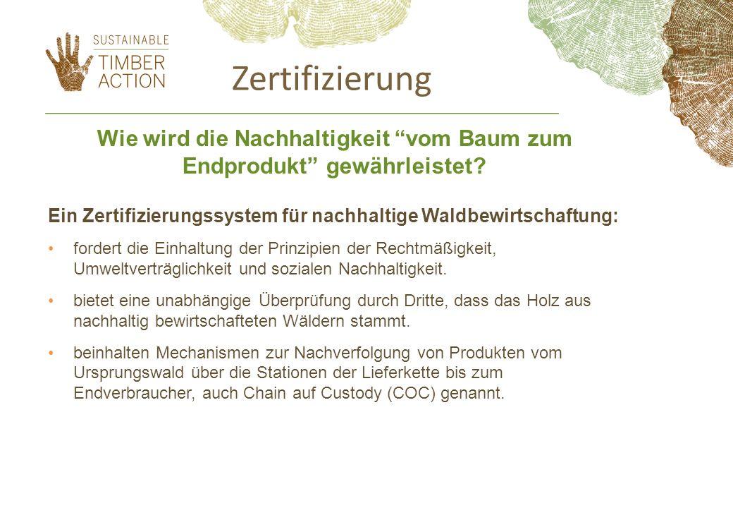 Zertifizierung Ein Zertifizierungssystem für nachhaltige Waldbewirtschaftung: fordert die Einhaltung der Prinzipien der Rechtmäßigkeit, Umweltverträglichkeit und sozialen Nachhaltigkeit.