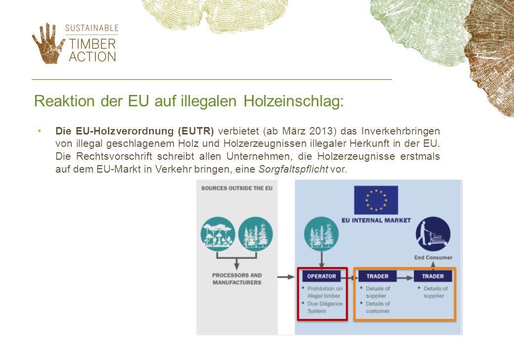 Die EU-Holzverordnung (EUTR) verbietet (ab März 2013) das Inverkehrbringen von illegal geschlagenem Holz und Holzerzeugnissen illegaler Herkunft in de