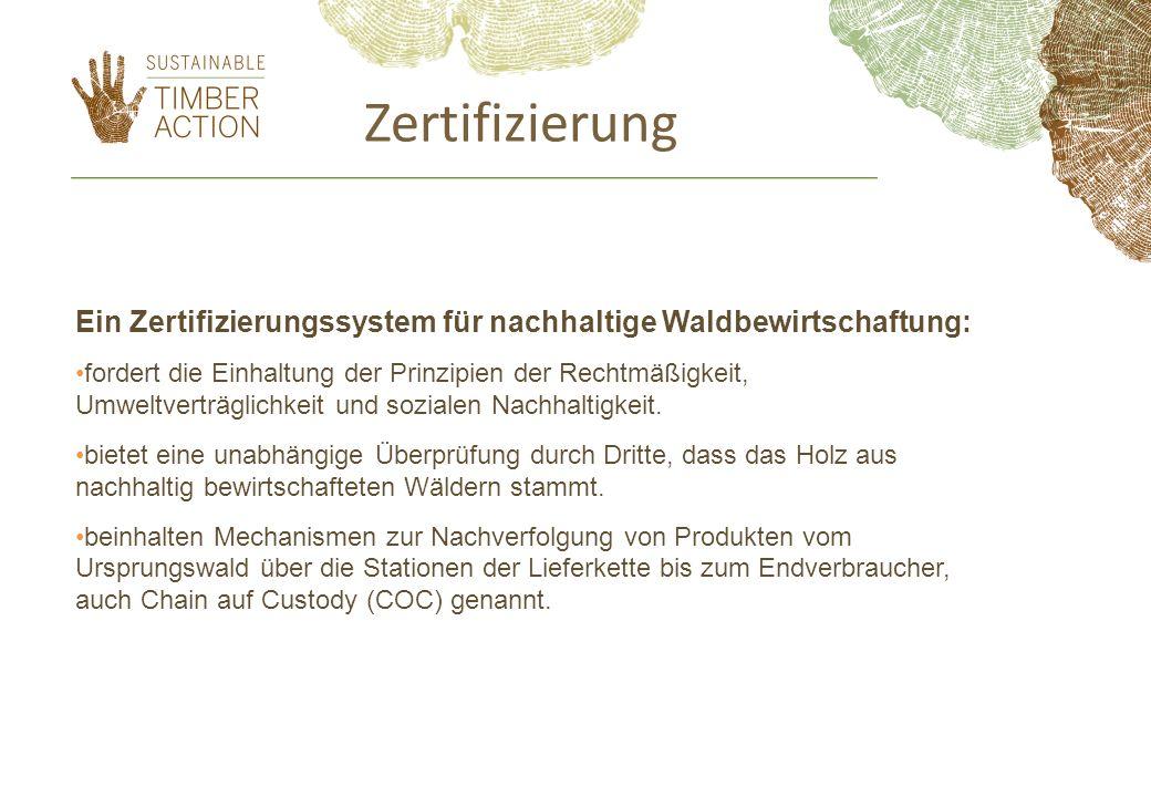 Zertifizierung Ein Zertifizierungssystem für nachhaltige Waldbewirtschaftung: fordert die Einhaltung der Prinzipien der Rechtmäßigkeit, Umweltverträgl