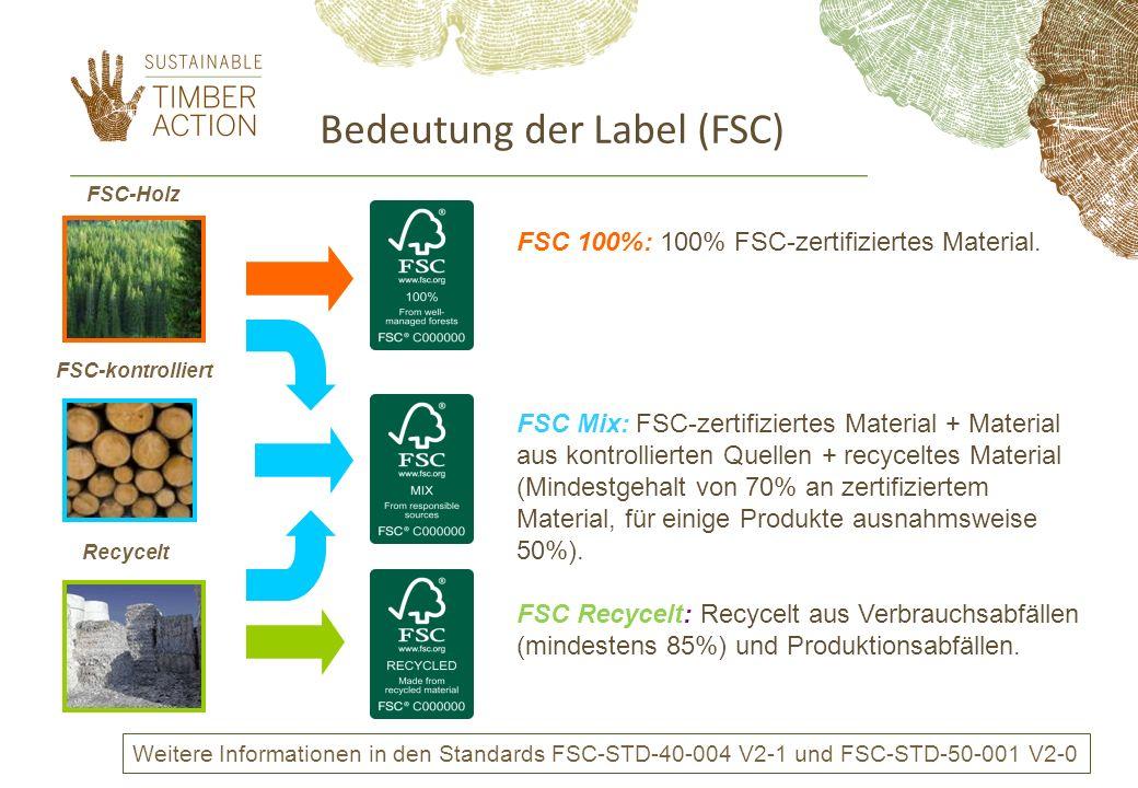 Bedeutung der Label (FSC) FSC-Holz FSC-kontrolliert Recycelt FSC 100%: 100% FSC-zertifiziertes Material. FSC Mix: FSC-zertifiziertes Material + Materi