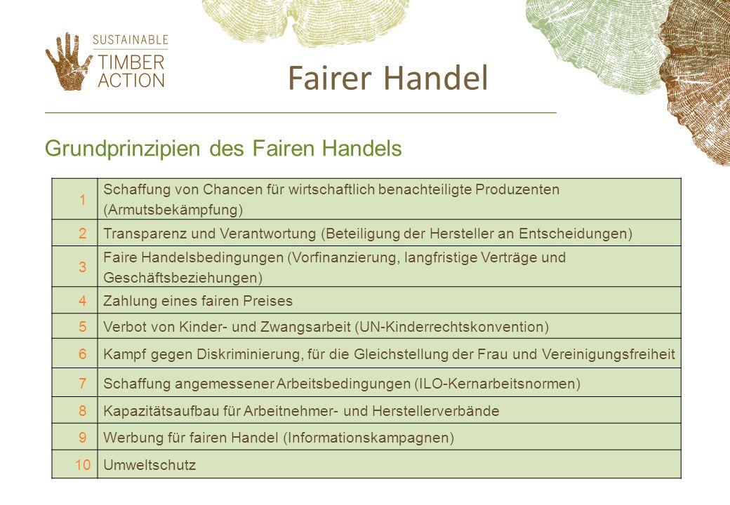 1 Schaffung von Chancen für wirtschaftlich benachteiligte Produzenten (Armutsbekämpfung) 2Transparenz und Verantwortung (Beteiligung der Hersteller an