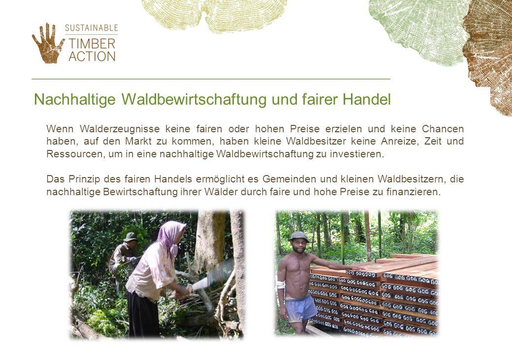 Nachhaltige Waldbewirtschaftung und fairer Handel Wenn Walderzeugnisse keine fairen oder hohen Preise erzielen und keine Chancen haben, auf den Markt