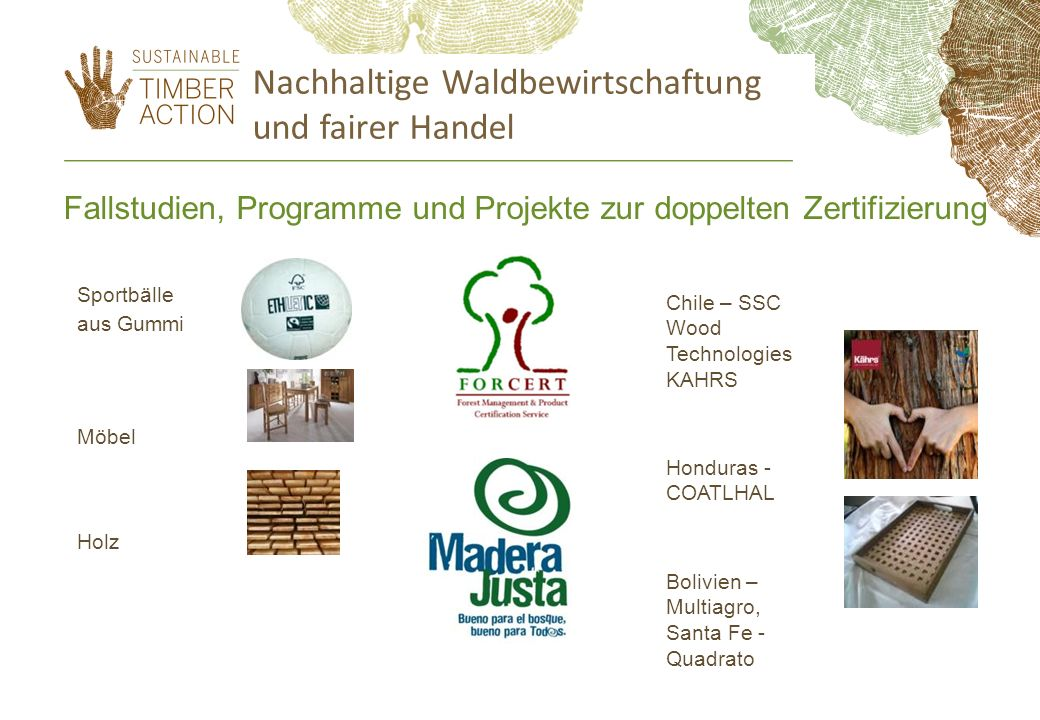 Sportbälle aus Gummi Möbel Holz Nachhaltige Waldbewirtschaftung und fairer Handel Fallstudien, Programme und Projekte zur doppelten Zertifizierung Chi