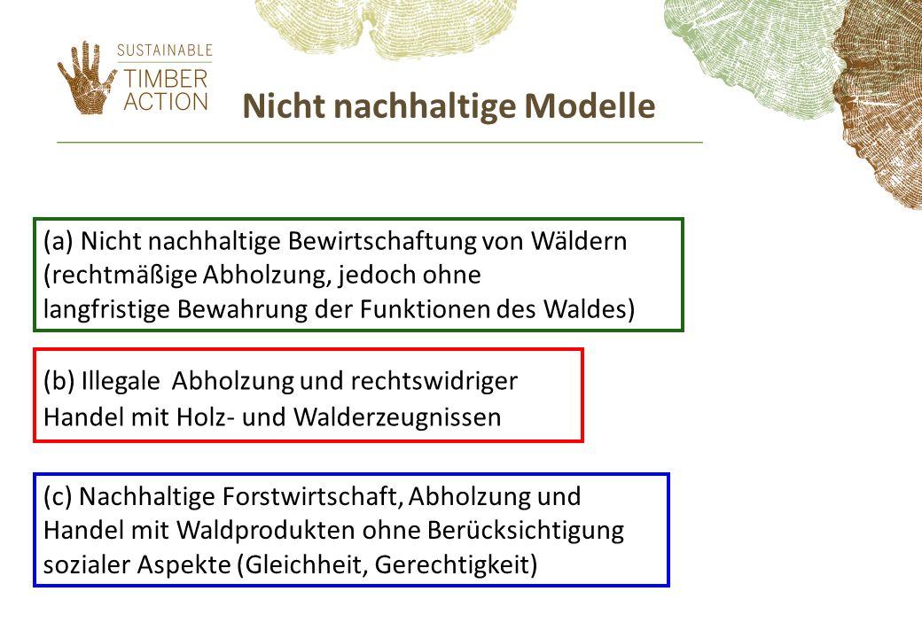 Nicht nachhaltige Modelle (a) Nicht nachhaltige Bewirtschaftung von Wäldern (rechtmäßige Abholzung, jedoch ohne langfristige Bewahrung der Funktionen