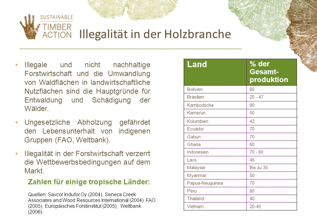 Verbrauch tropischer Hölzer in der EU Quelle: IDH 2012 5-10% aller unverarbeiteten tropischen Hölzer (ohne verarbeitete Holzerzeugnisse) werden von EU-Mitgliedstaaten importiert Öffentliche Auftraggeber kaufen durchschnittlich etwa 5- 20% dieser tropischen Hölzer: Frankreich 25% Deutschland 5% Belgien 10% Großbritannien 15%.