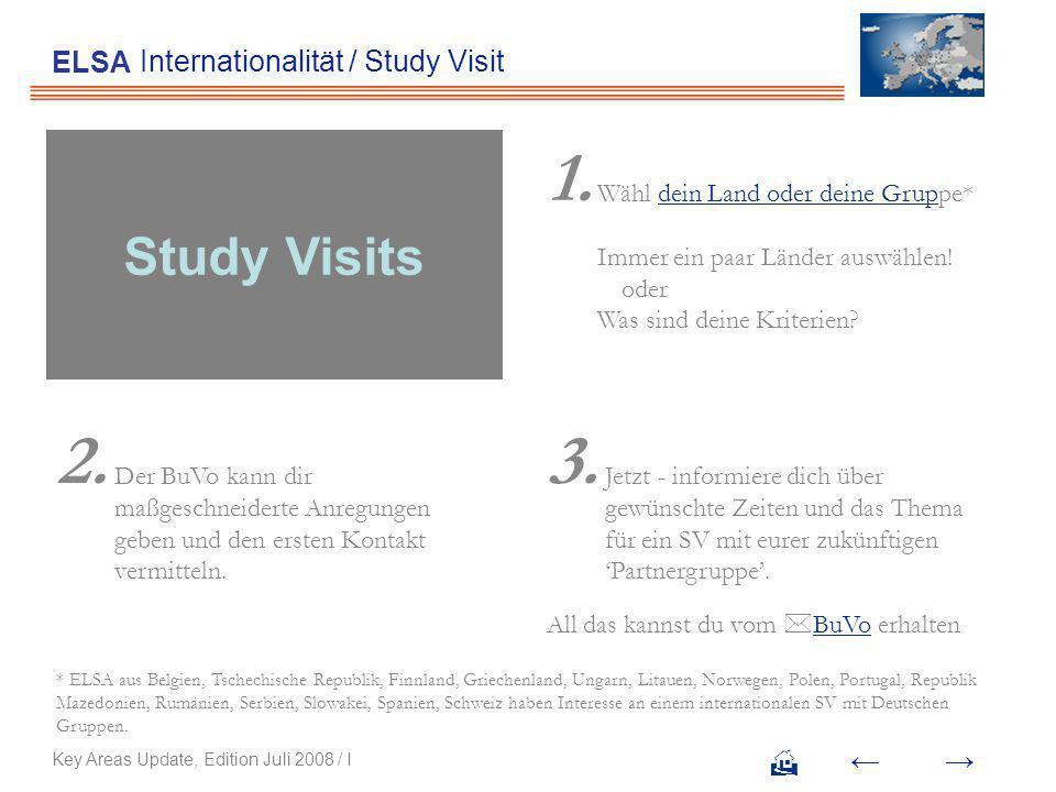 Internationalität / Study Visit ELSA Wähl dein Land oder deine Gruppe* Immer ein paar Länder auswählen!dein Land oder deine Grup Was sind deine Kriterien.