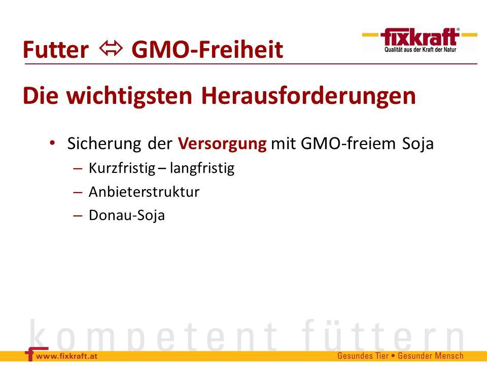 Sicherung der Versorgung mit GMO-freiem Soja – Kurzfristig – langfristig – Anbieterstruktur – Donau-Soja Futter GMO-Freiheit Die wichtigsten Herausfor