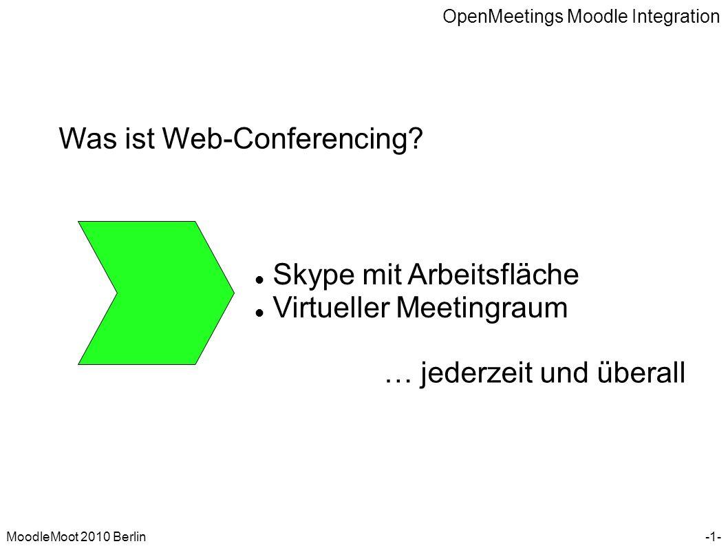 OpenMeetings Moodle Integration MoodleMoot 2010 Berlin Was sind die Basisbestandteile.