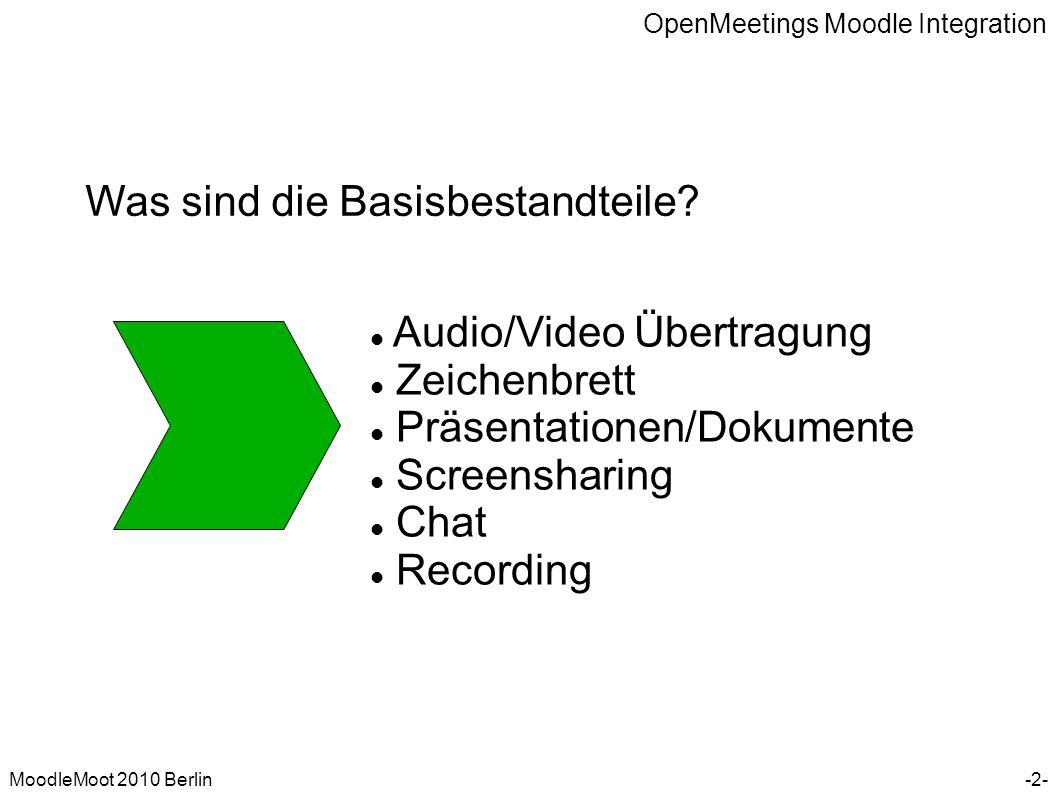 OpenMeetings Moodle Integration MoodleMoot 2010 Berlin Was sind die Basisbestandteile? Audio/Video Übertragung Zeichenbrett Präsentationen/Dokumente S