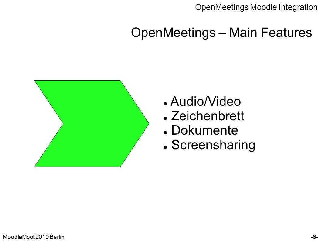 OpenMeetings Moodle Integration MoodleMoot 2010 Berlin OpenMeetings – Moodle Integration -17- Technik und Skalierbarkeit Anbindung von Moodle über die OpenMeetings SOAP Schnittstelle.