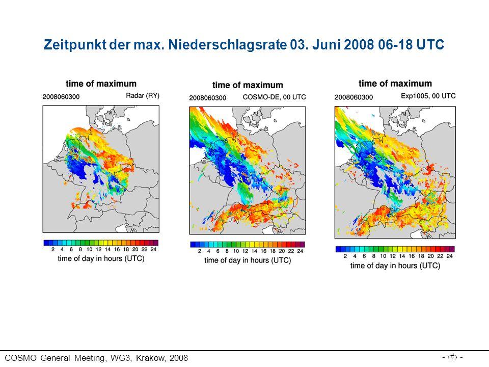 COSMO General Meeting, WG3, Krakow, 2008 - 21 - Zeitpunkt der max. Niederschlagsrate 03. Juni 2008 06-18 UTC
