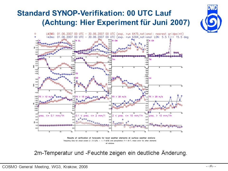 COSMO General Meeting, WG3, Krakow, 2008 - 27 - Standard SYNOP-Verifikation: 00 UTC Lauf (Achtung: Hier Experiment für Juni 2007) 2m-Temperatur und -Feuchte zeigen ein deutliche Änderung.