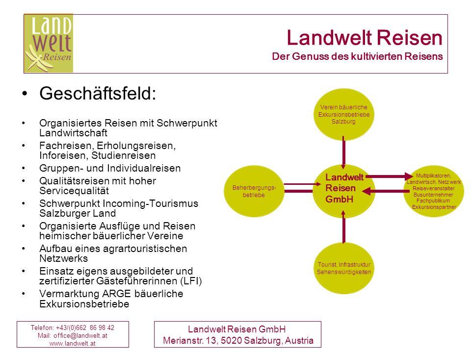 Telefon: +43/(0)662 86 98 42 Mail: office@landwelt.at www.landwelt.at Landwelt Reisen GmbH Merianstr. 13, 5020 Salzburg, Austria Landwelt Reisen Der G