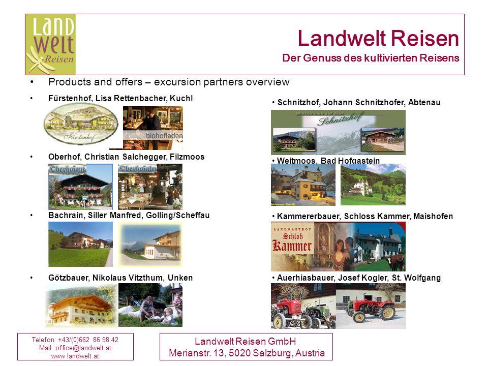 Telefon: +43/(0)662 86 98 42 Mail: office@landwelt.at www.landwelt.at Landwelt Reisen GmbH Merianstr. 13, 5020 Salzburg, Austria Schnitzhof, Johann Sc